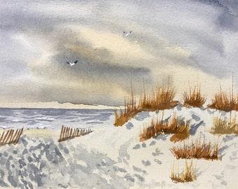 Cloudy Beach Original Watercolor