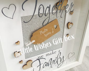 Together we make a family photo box frame, freestanding or wall hung, free photo added, shadow 3D box frame