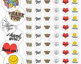 "Assorted Thank You Envelope Seals - 1.2"" Thank You Stickers - 144 Stickers - 25120"