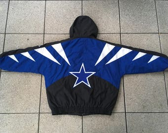 RARE 90s Dallas COWBOYS Jacket by Apex One Vintage NFL Football Vintage nwa Hip Hop Removable Hood