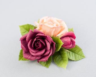 Rose hair clip Flower hair clip Rose hair accessory for women Vinous rose barrette Floral Barrette Rose cold porcelain Floral jewelry