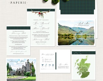 Scotland Scottish UK Destination wedding Antlers Tartan Wedding Invitation Suite illustrated watercolor landscape Deposit Payment