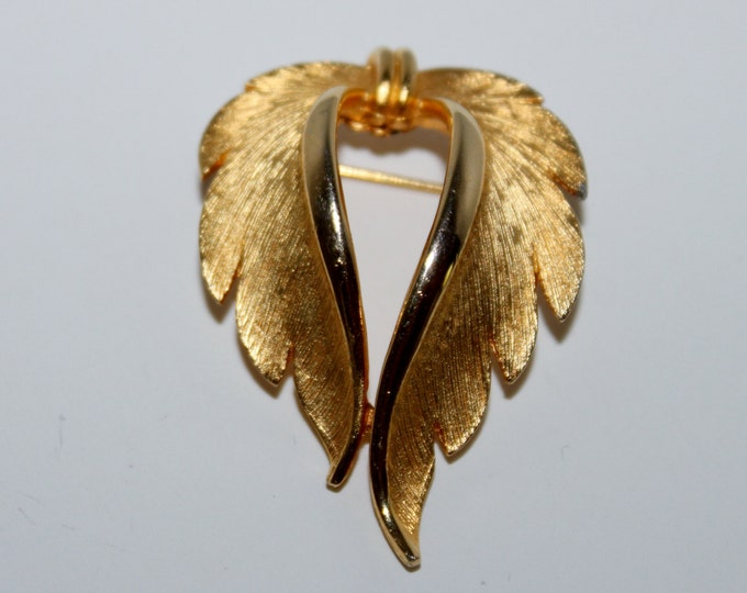 Vintage JJ Gold-Tone Feathered Heart Shaped Brooch, JJ Jewelry