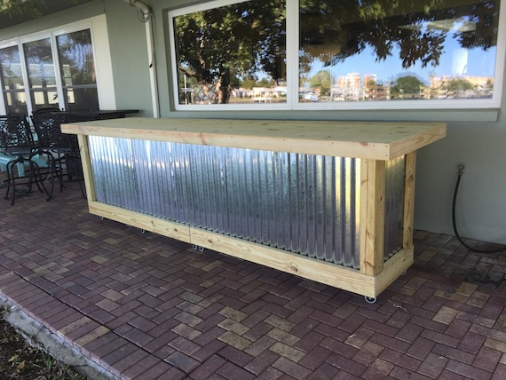 Exceptional The Beer Pong   12u0027 Corrugated Metal Rustic Outdoor Patio Bar