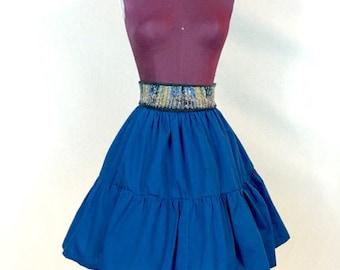Vintage //Medium\\ Navy Tiered Skirt High Waist Above Knee FULL CIRCLE