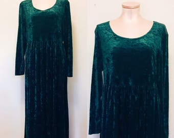 Emerald green crushed velvet witchy 90's long sleeve maxi dress