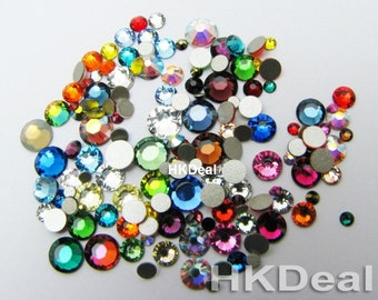144 pieces Mix Size Color Swarovski Rhinestone Flatback Crystal Assorted Colors ss5 ss9 ss12 ss16 ss20 DIY Nail Art Decoration #517