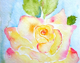 Peace Rose Watercolor Notecard
