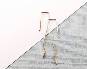 Geometric Boho Luxe Rustic Elegance Hammered Zig Zag Wire Earrings