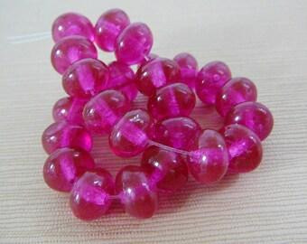 Fuschia Pink Czech Glass Beads, Rondel, Spacer mini strand