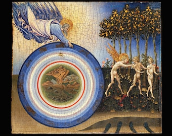 The Creation and The Expulsion from Paradise ( AD 1445)  God floating above the universe and the expulsion of Adam and Eve - Art Print
