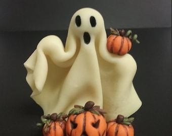 Hand Sculpted Polymer Clay Halloween Ghost w/Pumpkins figure