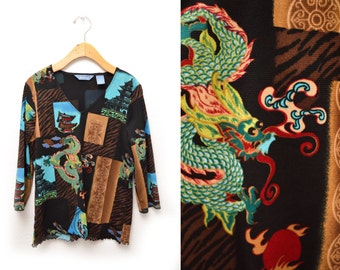 90s Chinese Dragon Patterned Print Blouse 3/4 Length Sleeves Women's Small
