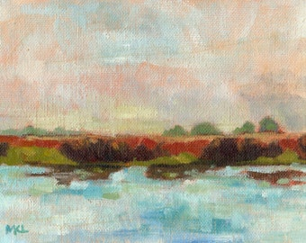 Small Original Oil Painting of Lake, Landscape, Wall Art, Impressionism