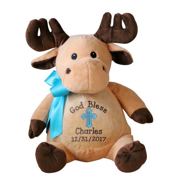Personalized Moose Stuffed Animal Custom Embroidery Baby Gift