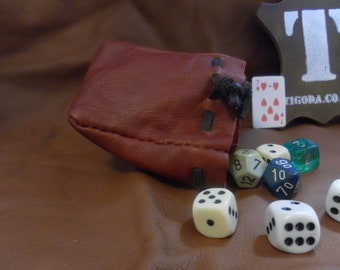 Red leather dice pouch