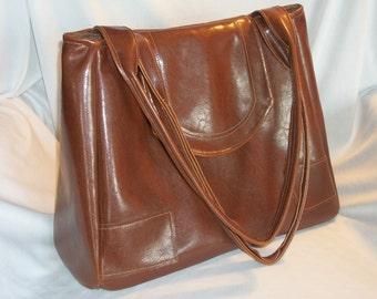Purse Shoulder Commuter Overnight Bag Large Vinyl Vegan Brown Flap Pockets Zipper Ready to Ship
