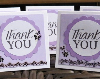 Purple and Black Mini Thank You Cards with Flowers and Butterflies Handmade Set of 45