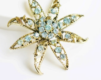 Gerry's Gold and Blue Green Rhinestone Star Flower Brooch Pin, Vintage Mid Century, Cottage Chic