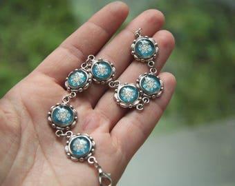 Vintage Snowflake bracelet, Christmas bracelet, Snowflake jewelry, Vintage bracelet, Christmas gift, Winter bracelet, winter jewelry, blue