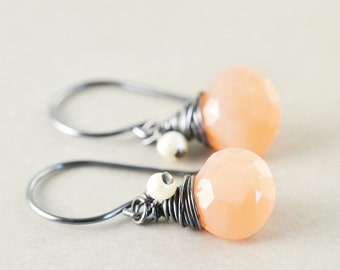 Peach Dangle Earrings, June Birthday, Moonstone Drop Earrings