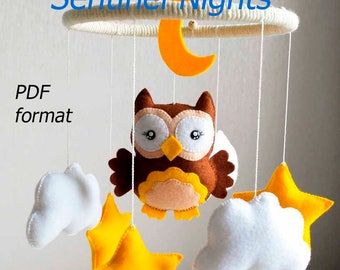 Pattern, Children's mobile,+ PDF format 15 photo step by step instructions, tutorials,pdf pattern,Sewing Pattern,children's toy