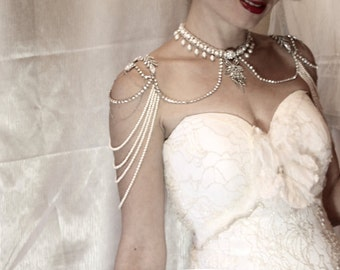 Bridal Necklace for the shoulders Pearl and rhinestone 1920s Jewellry Bridal Epaulettes VIntage Wedding Gothic necklace Gothic Jewelry OOAK