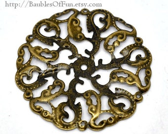 Bronze Filigree Flower Connectors Links | Antique Brass Filigree Metal Stampings -- Lead, Nickel & Cadmium free 14165.L