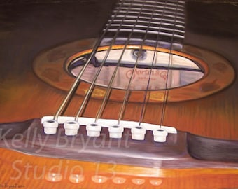 Martin Guitar, Giclee print of original pastel painting
