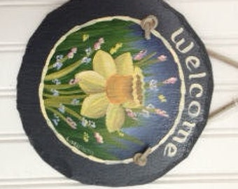 Handpainted Spring Daffodil  Personalized Small Welcome Sign