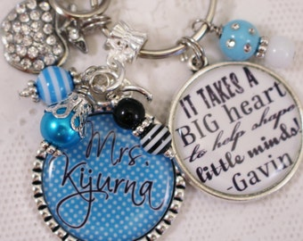 Teacher Key Chain, Teacher Gift, Kindergarten Teacher Key Chain, Teacher Jewelry, Teachers Key Chain, Personalized Teacher Key Chain,Teacher