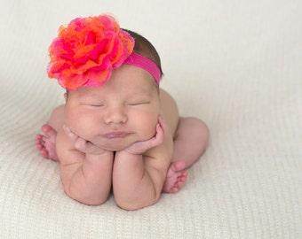 Orange and Hot Pink Lace Chiffon Baby Headband, Infant Headbands, Baby Girl Headbands, Infant Bows, Baby Bows, Newborn Headbands