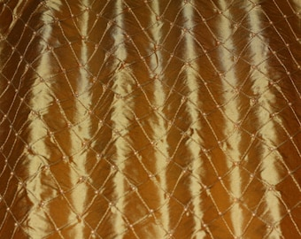 "Honey Pintuck Diamond Dupioni Shantung w/ Embroidery 100% Silk Fabric, 50"" Wide, By the Yard (EB-805J)"