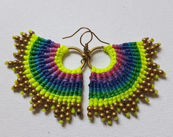 Macrame Earring, Thai Handmade earring, Colorful earring,bohemian earrings