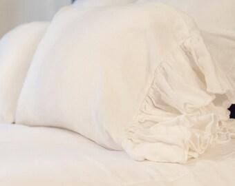 Ruffled Linen Standard Pillowcase