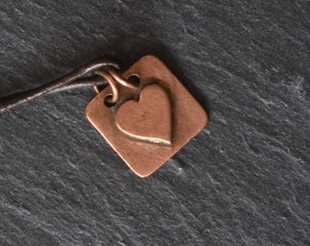 Square copper heart necklace
