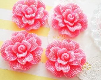 2 pcs Huge Bling Gorgeous Rose Cabochon (45mm) AB Dark Pink FL363