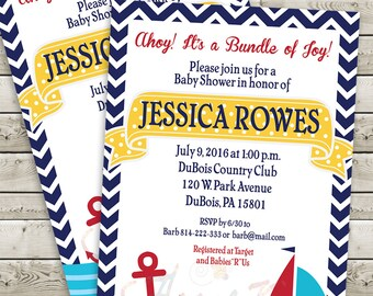 Ahoy Nautical Themed Invitation - PRINTABLE