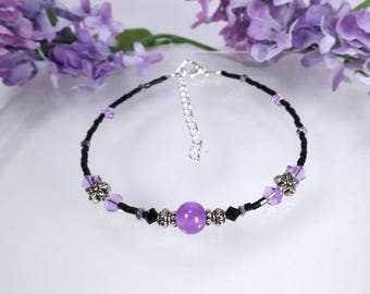 Anklet Purple Anklet Ankle Bracelet Flower Anklet Black Anklet Foot Jewelry Summer Anklet
