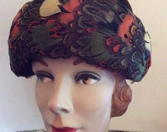 Vintage 1950s 1960s Hat Brown With Multi Color Feathers Label Is h.c. Prange Co.