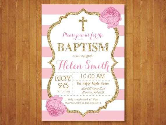 Pink And Gold Baptism Invitation Girl Christening Invitation