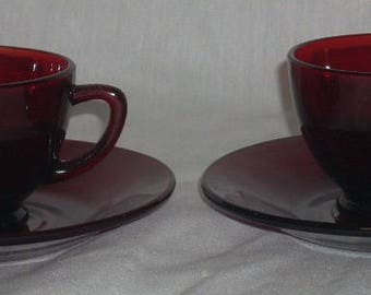 Anchor Hocking Royal Ruby Red Cups Saucers x2