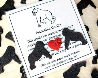 100 Flower Seed Confetti Gorillas - Plantable Paper Gorilla Birthday Party Favors - Jungle Baby Shower Favors - Zoo Wedding