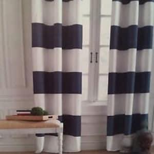 Sale, Cabana Navy Stripe Curtains