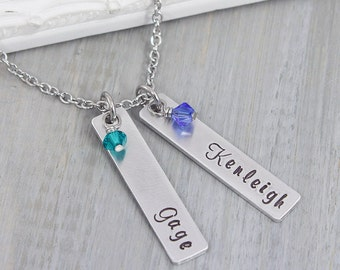Personalized Necklace - Hand Stamped Jewelry - Mom Necklace - Personalized Mom Necklace - Gift for Mom - Bar Name Necklace for Her