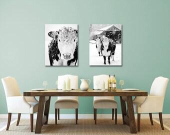 Black and White Cow Art, Cow Print, Farmhouse Print, Rustic Decor, Black and White Cow Photo, Cow Photo, Farmhouse Decor, Large Wall Art