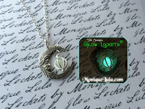 Silver Crescent Moon With Caged Orb Glow Locket