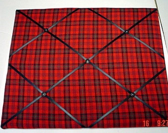 Red Plaid Memory Board French Memo Board, Fabric Photo Board, Ribbon Pin Board, Photo Board, Memo Bulletin Board, Gift For Him