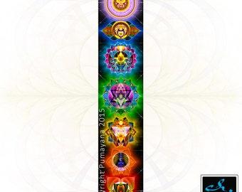 7 chakras Wall Hangning - Tapestry - Original Pumayana Visionary Healing Art, Spiritual, Shamanic, Sacred Geometry, Entheogenic Art