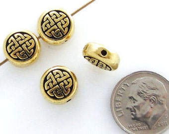 Pewter Coin Beads-Gold Medium CELTIC CIRCLE KNOT (4)